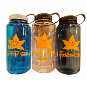 32oz. Nalgene Bottles with our Highland Hiker Smiling Leaf Logo